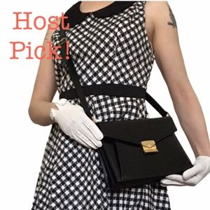 *hp* Vtg Mark Cross 1990s Black Leather Bag Purse